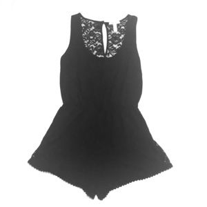 Ambiance Apparel Black Lace Trim Romper ➕ size M